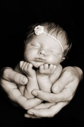 Baby Girl Lies In The Hands Of Dad