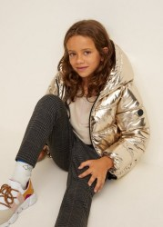 Metallic Puffer Jacket By Mango