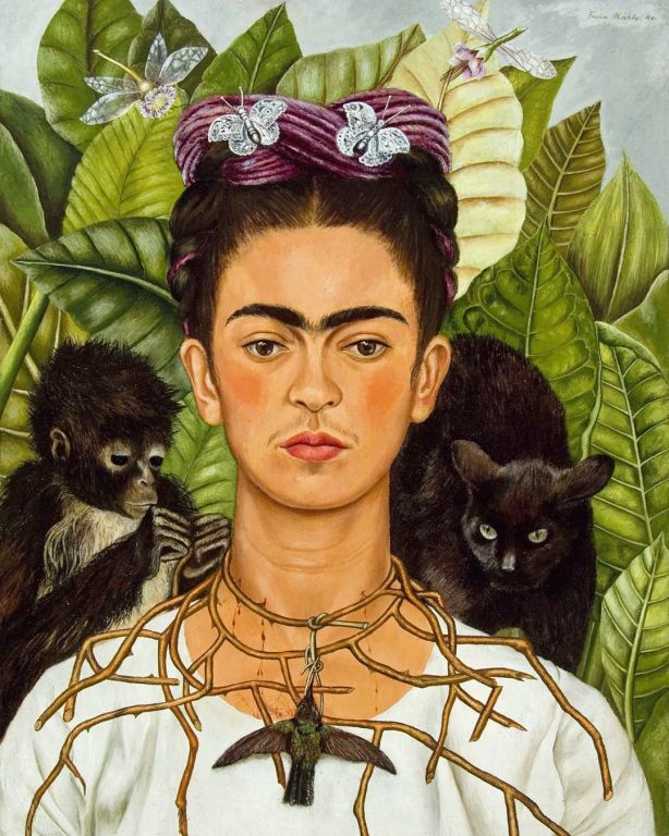 Self-Portrait with Thorn Necklace and Hummingbird By Frida Kahlo, Oil Paintings